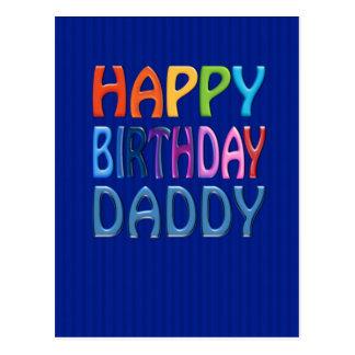 Happy Birthday Daddy - Happy Colourful Greeting Postcard