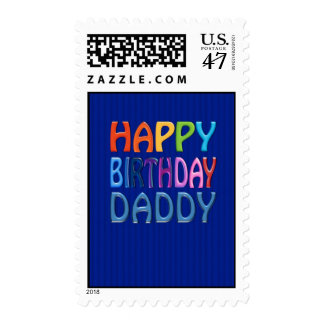 happy Birthday Daddy - Happy Colourful Stamp