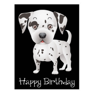 Happy Birthday Dalmatian Puppy Dog Black Postcard