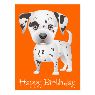 Happy Birthday Dalmatian Puppy Dog Orange Postcard
