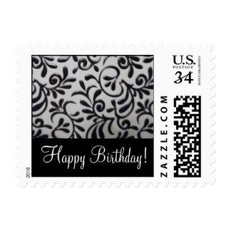 Happy Birthday Damask Swirl Postage Stamp