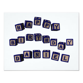 Happy Birthday Daniel toy blocks in blue. Card