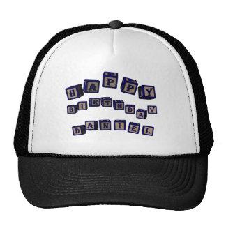 Happy Birthday Daniel toy blocks in blue. Hat