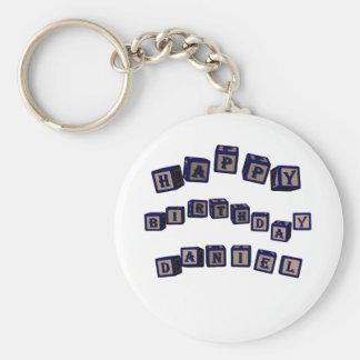 Happy Birthday Daniel toy blocks in blue. Basic Round Button Keychain