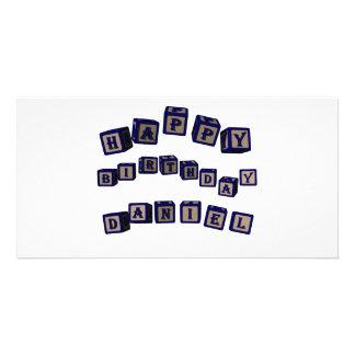 Happy Birthday Daniel toy blocks in blue. Customized Photo Card