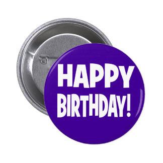 """""""HAPPY BIRTHDAY"""" Dark Violet/White Button"""