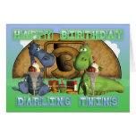 Happy Birthday Darling Twins, pair of cute dragons Greeting Card