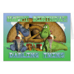 Happy Birthday Darling Twins, pair of cute dragons Greeting Cards