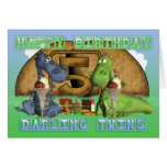 Happy Birthday Darling Twins, pair of cute dragons Cards
