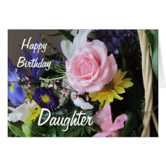 Happy Birthday Daughter-Pink Rose Bouquet Cards