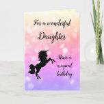 "Happy Birthday Daughter Unicorn design Card<br><div class=""desc"">Pretty pink sparkly Happy Birthday Daughter Unicorn design greeting card.</div>"