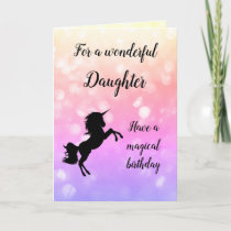 Happy Birthday Daughter Unicorn design Card