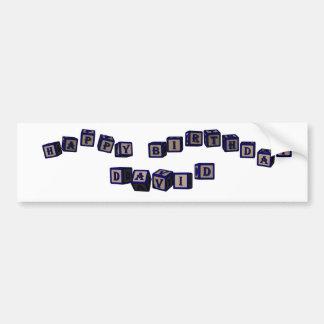 Happy Birthday David toy blocks in blue. Bumper Sticker