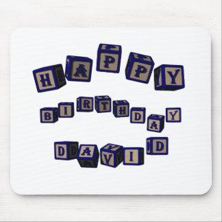 Happy Birthday David toy blocks in blue. Mouse Pad