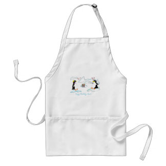 Happy birthday dear Cute pinguins fish -cake Aprons