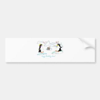 Happy birthday, dear! Cute pinguins, fish -cake Bumper Sticker