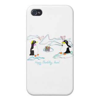 Happy birthday, dear! Cute pinguins, fish -cake Cases For iPhone 4