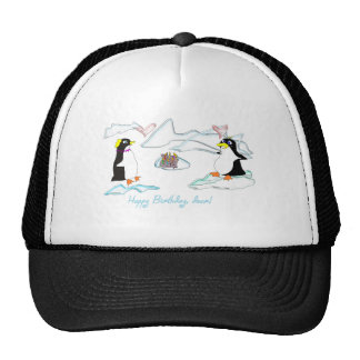 Happy birthday dear Cute pinguins fish -cake Mesh Hat