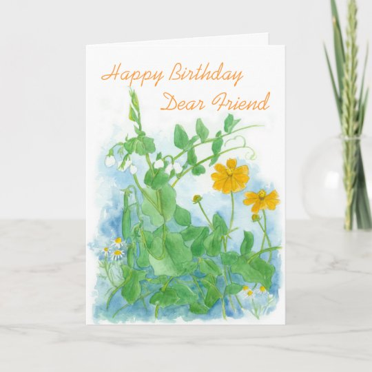 Happy Birthday Dear Friend Vegetables Peas Card