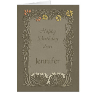 Happy Birthday dear Jennifer CC0037 Art Nouveau Card