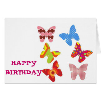 Happy Birthday Decorative Colored Butterflies Card