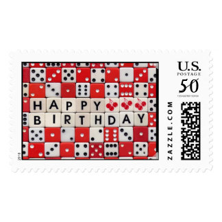 Happy Birthday Dice Postage Stamp
