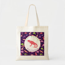 Happy Birthday Dinosaur Personalized Purple Girls Tote Bag