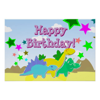Happy Birthday Dinosaurs Poster