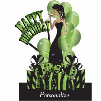 Happy Birthday Diva Girl | DIY Name | Bright Green Statuette