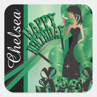 Happy Birthday Diva Girl | DIY Name | Green Square Sticker