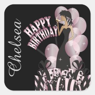 Happy Birthday Diva Girl | DIY Name | Pink Square Sticker