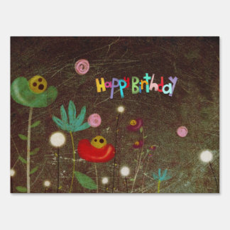 Happy Birthday Doll Cat Yard Sign