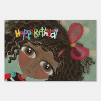 Happy Birthday Doll Cat Yard Sign
