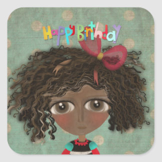 Happy birthday Doll Sunkissed Square Sticker