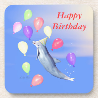 Happy Birthday Dolphin and Balloons Beverage Coaster