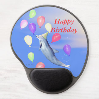 Happy Birthday Dolphin and Balloons Gel Mouse Pad