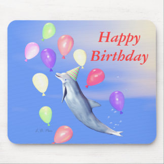 Happy Birthday Dolphin and Balloons Mouse Pad