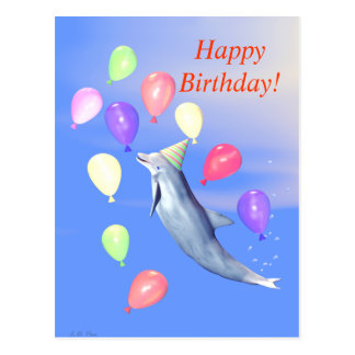 Happy Birthday Dolphin Postcard