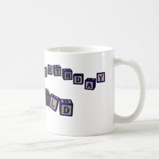 Happy Birthday Donald toy blocks in blue. Coffee Mug