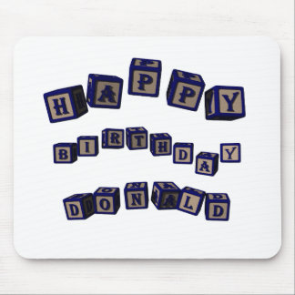Happy Birthday Donald toy blocks in blue. Mouse Pad