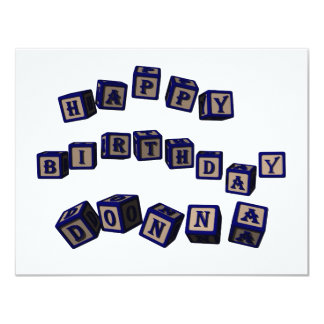 Happy Birthday Donna toy blocks in blue. Card