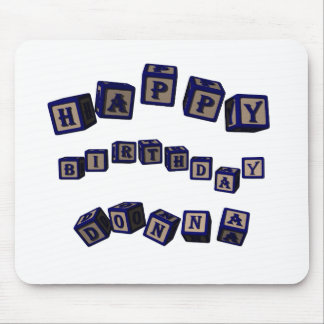 Happy Birthday Donna toy blocks in blue. Mouse Pad