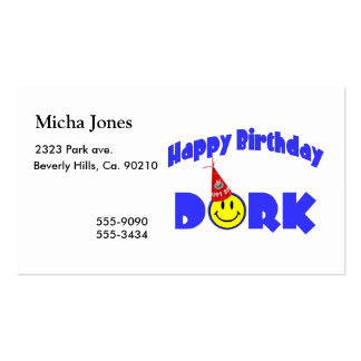 Happy Birthday Dork Party Hat Business Card