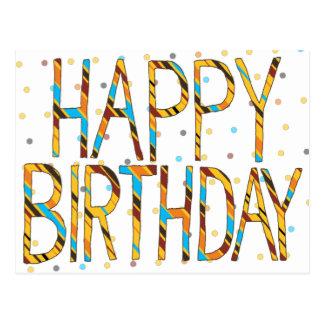 Happy Birthday Dots 'n' Stripes Postcard