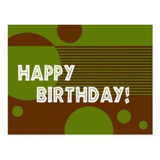 Happy Birthday Dotty Lines Postcard (olive/brown)
