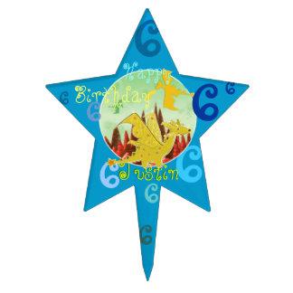 Happy Birthday Dragon Cake Topper Star