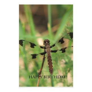 Happy Birthday Dragon Fly Personalized Stationery