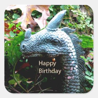 Happy Birthday Dragon Serpent Square Sticker