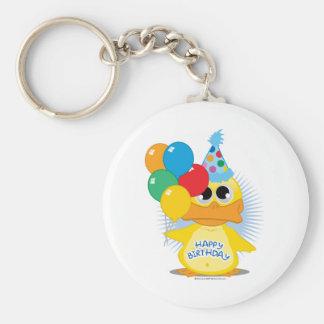 Happy Birthday Duck Basic Round Button Keychain