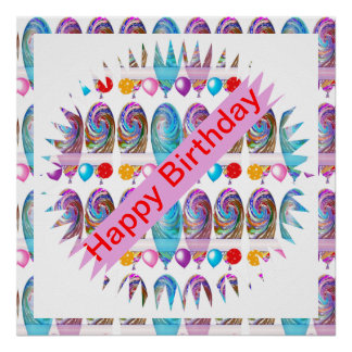 HAPPY BIRTHDAY : Editable text CHANGE YR GREETING Poster